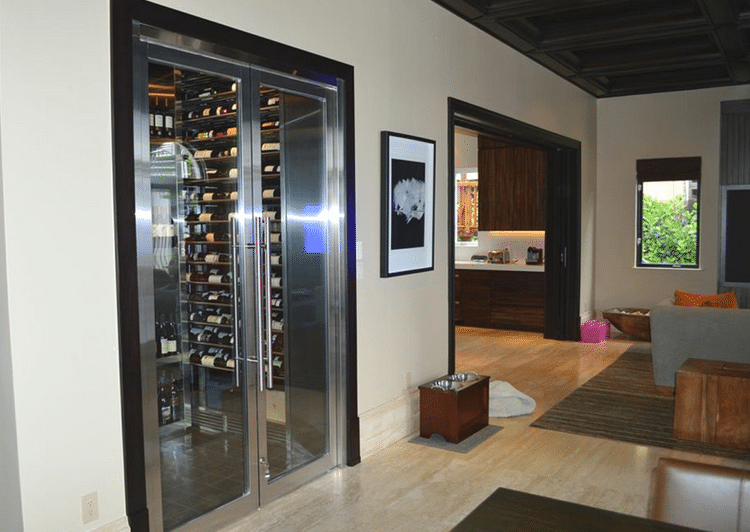 Contemporary Residential Wine Cellar Design in Miami Beach Florida & Stainless Steel Contemporary Home Wine Cellar Miami Florida : Wine ...